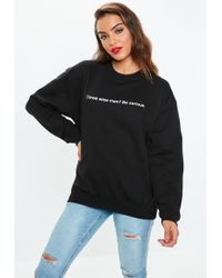 Missguided - Black Three Wise Men Slogan Sweatshirt - Lyst