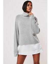 Missguided Rib Roll Neck Batwing Knitted Sweater - Gray