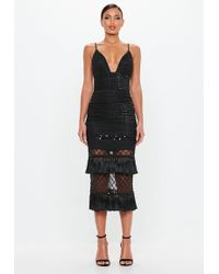 Missguided - Black Beaded Tassel Midi Dress - Lyst