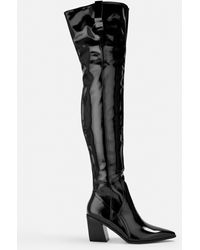 Missguided Black Patent Western Over The Knee Boots