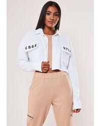 Missguided White Essential Embroidered Cropped Sweatshirt