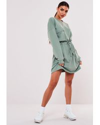 Missguided Mint Tie Waist Pocket Sweater Dress - Green