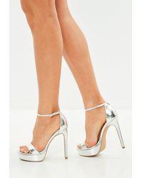 Missguided - Silver Simple Strap Platform Sandals - Lyst