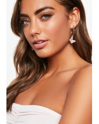 Missguided - Gold Butterfly Pink Diamante Charm Hoop Earrings - Lyst