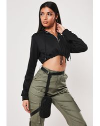 Missguided Black Zip Front Cropped Hoodie
