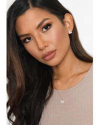Missguided Gold Look Diamante Butterfly Stud Earrings And Necklace Gift Set - Metallic