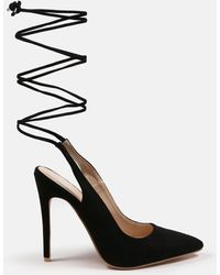 Missguided Faux Suede Lace Up Open Back Court Heels - Black