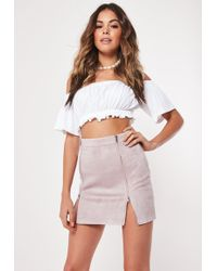 1bc8548e73 Missguided Ribbed Bandage Midi Skirt Mauve in Natural - Lyst