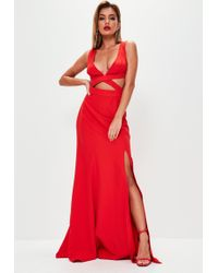 Missguided - Red Crepe Cut Out Waist Fishtail Maxi Dress - Lyst