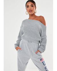 Missguided Off The Shoulder Cropped Knitted Sweater - Gray