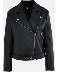 Missguided Faux Leather Boxy Biker Jacket - Black