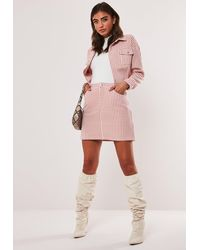 Missguided Pink Co Ord Dogtooth Cropped Jacket