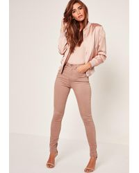 Missguided Camel Sinner High Waisted Laced Up Skinny Jeans - Black