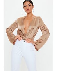 Missguided Tall Nude Satin Drape Plunge Bodysuit - Natural