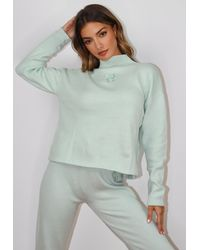 Missguided - Mint Co Ord Msgd High Neck Oversized Knit Sweater - Lyst