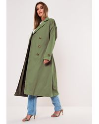 Missguided Tall Khaki Oversized Midaxi Trench Coat - Green