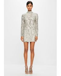 Missguided - Peace + Love Gold High Neck Sequin Dress - Lyst