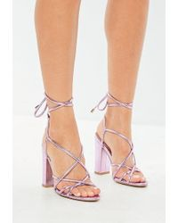 9126d6a15f42 Missguided Lace Up Barely There Heeled Sandals Grey in Gray - Lyst