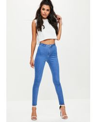 Missguided | Blue Vice High Waisted Skinny Jeans | Lyst