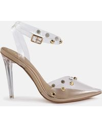 Missguided Nude Clear Dome Stud Heeled Sandals - Multicolour
