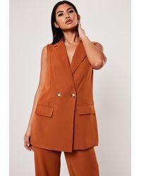 Missguided Plus Size Terracotta Co Ord Long Sleeveless Blazer - Orange