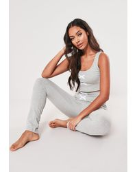 Missguided Grey Lace Up Front Detail Pyjama Set