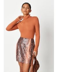 Missguided Orange Snake Print Faux Leather Mini Skirt