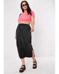 Missguided Plus Size Black Satin Slip Skirt