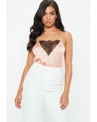 Missguided - Nude Satin Lace Insert Bodysuit - Lyst