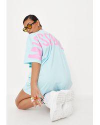 Missguided Oversized T Shirt Dress - Blue