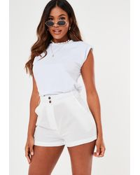 Missguided Button Beach Cover Up Shorts - White