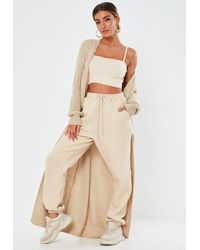 Missguided Stone Patch Pocket Knit Maxi Cardigan - Natural