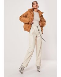 Missguided Tan Hooded Puffer Jacket - Brown