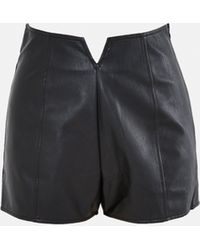 Missguided Faux Leather High Waisted Shorts - Black