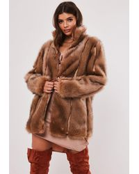 Missguided Premium Brown Pelted Faux Fur Coat