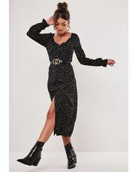 Missguided Black Ditsy Print Milkmaid Midi Dress