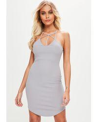 Missguided - Grey Curve Hem Bodycon Dress - Lyst