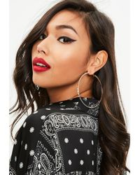 Missguided - Rose Gold Large Textured Hoop Earrings - Lyst