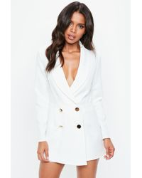 Missguided - White Tailored Military Button Playsuit - Lyst