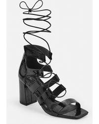 Missguided - Black Patent Croc Ghillie Mid Heel Sandals - Lyst