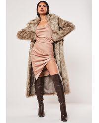 Missguided Faux Fur Maxi Coat - Brown