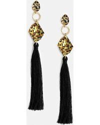 Missguided - Leopard Stone Black Tassel Earring - Lyst