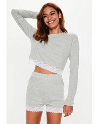 f00d24abbd7b7 Missguided - Gray Lace Trim Shorts Pyjama Set - Lyst