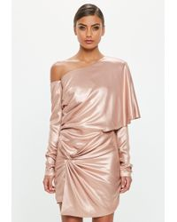 Missguided - Peace + Love Pink One Shoulder Metallic Dress - Lyst
