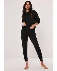 Missguided Plus Size Black Rib Loungewear Set