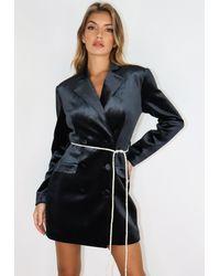 Missguided Black Velvet Diamante Belt Blazer Dress - Gray