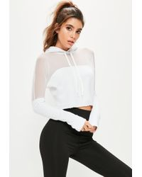 Missguided Active White Mesh Panel Hoodie