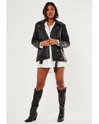 Missguided Faux Leather Long Biker Jacket - Black