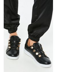 Missguided - Black Gold Disc Eyelet Sneakers - Lyst