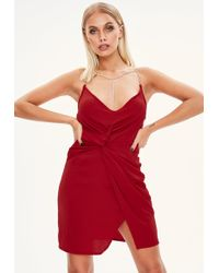 Missguided - Red Plunge Diamante Strap Dress - Lyst
